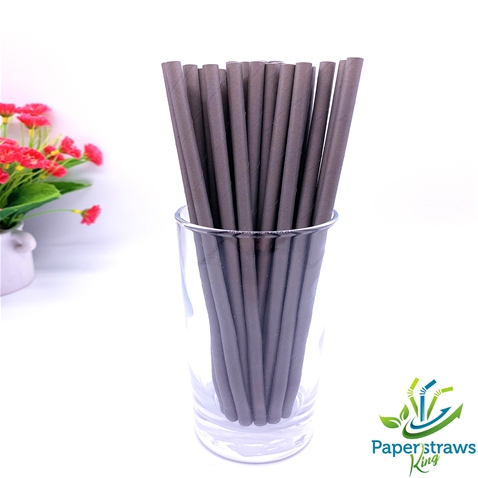 Solid color paper straws all grey 200pcs