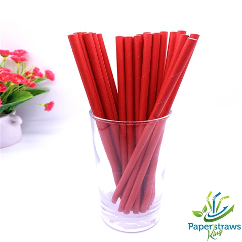Solid color paper straws full red 200pcs